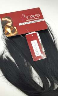 "24"" Jet Black Synthetic 8 Piece Clip In Hair Extensions"