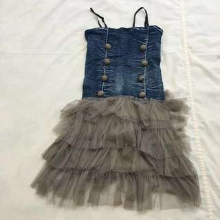 Denim Jeans Tube With Tutu Or Cancan Dress