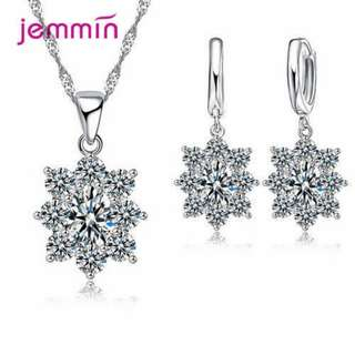 Elegant Bridal Wedding Necklaces Jewelry Red&Blue Cubic Zirconia Stone Earring