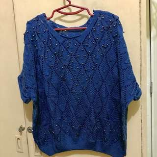 Blue Knitted top with front details