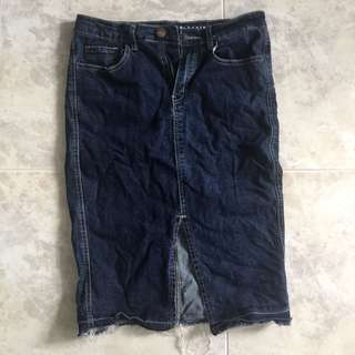 UK12 CO denim skirt slit bottom
