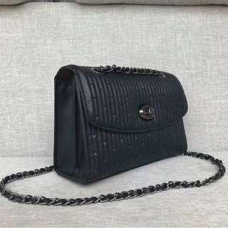 Coach Parker 26850 Quilted Chain Bag Black V1