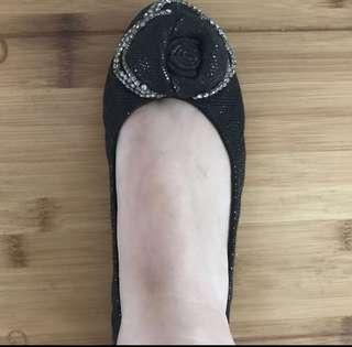 Pazzion Black Rose ballerina shoe/flat