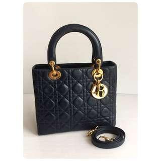 Christian Dior Lady Dior Lambskin Royal Blue Tote Bag