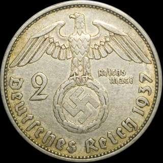 1937A AU Silver 2 Reichsmark