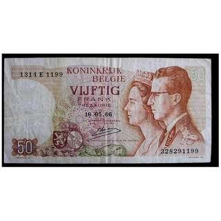 1966年比利時王國(Kingdom of Belgium)財政部比皇博杜安及花比奧拉皇后像皇宮20法郎鈔票