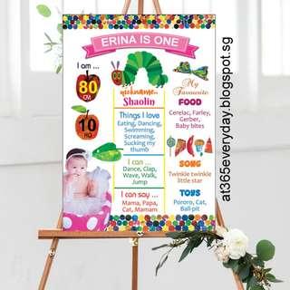The Hungry Caterpillar Milestone Board Personalize Design + Print, Stickers, Tags, Invitation Card