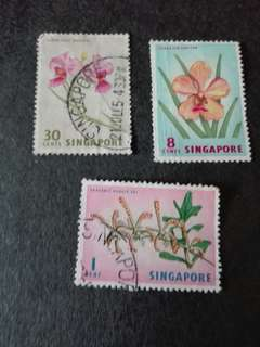 Singapore Stamps Flowers Used