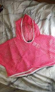 Fashion Nova Pink Neon Fishnet Cropped Hoodie