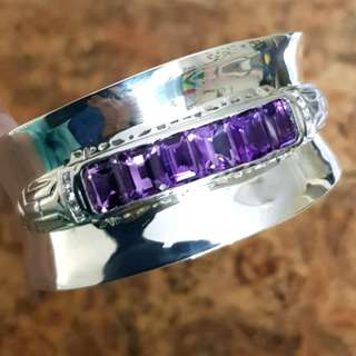 Amethyst Cuff, solid 925 Sterling Silver, Square Cut Stone, NEW♡