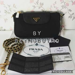 PRADA BT0770 TESSUTO GOLD CHAIN BAG WITH DUSTBAG AND CARDS