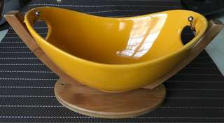 [New] Yellow Salad Bowl with Bamboo Holder