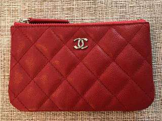 Chanel red o case coin pouch in caviar leather
