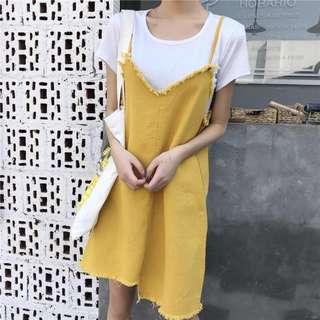 «Kimi Shop» 預購➜抽鬚造型不規則下襬設計兩件式洋裝