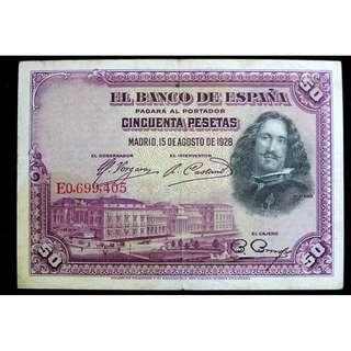 1928年西班牙銀行名畫家維拉斯蓋茲像及其畫作布拉達之降50披索塔銀票