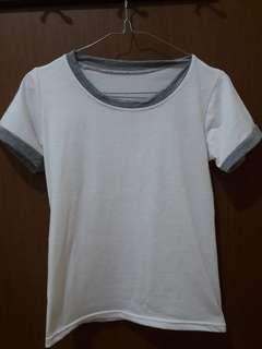 Preloved Kaos Putih Polos Fit to L Mat Kaos