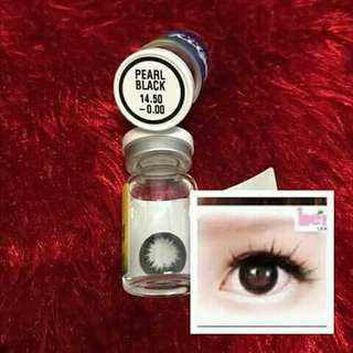 Contact lens black. Green. Blue. Red. With solution and case