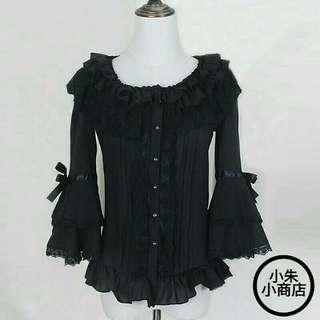 Spring summer women white short shirts Ladies lace Chiffon Gothic shirts Ruffled cute casual blouse lolita costume