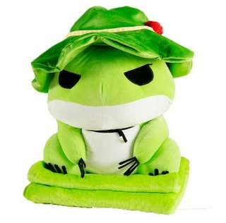 2 in 1 Travel Frog blanket cushion pillow bolster