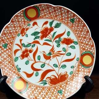 橘吉制赤釉手繪茶果子盆
