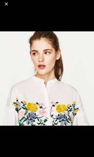 Zara White Embroidered Long Sleeve Top