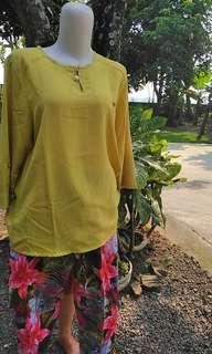 Set kulot linen motif & blouse ijo lumut segar