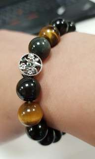 Obsidian black beads 12mm with 925 Silver Tree Charm