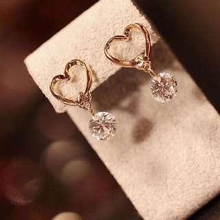 Women's Cute Love Heart Crystal Zircon Dangle Ear Pins Eardrop Earrings Dangles