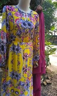 Set gamis kuning motif bahan lembut maxmara & jilbab