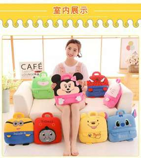 2 in 1 blanket cum cushion Pillow with Handle Various design