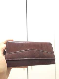 Faux Leather Long Wallet (Brown)