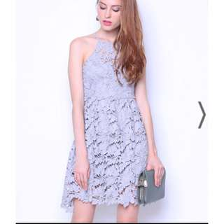 Neonmello Premium Berlin Crochet Panelling Dress in Grey