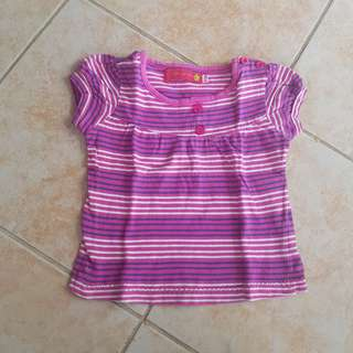 Juniors Shirt 9-12m Baby top pink stripes