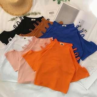 (269元專區) 春新款女裝復古寬鬆顯瘦露肩性感鏤空百搭纯色短袖T恤上衣