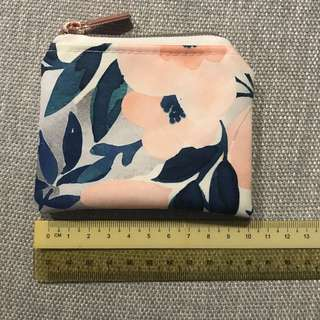 Whimsical watercolour and sakura swirl custom coin pouch rose gold