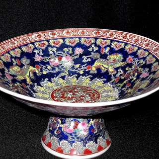 Qing Pedestal Fruits Plate 清水果盘子