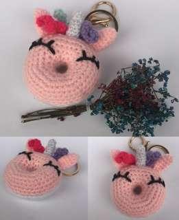 Unicorndono - Crochet Unicorn Donut Key Chain Key Fobs Bag Charms