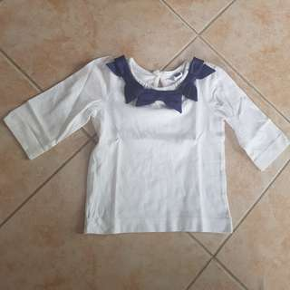 Jannie and jack long sleeves 12-24m white top