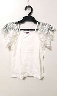 White shirt with lace detail
