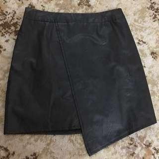Ice leather asymmetrical skirt