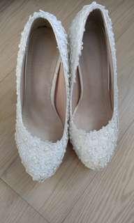 白色高根新娘鞋