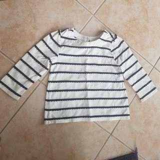 Baby Gap Top 12-18m White Stripes Longsleeves