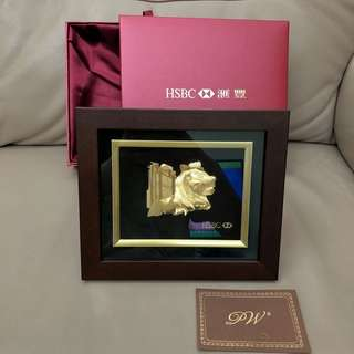 HSBC滙豐銀行24K金浮雕金獅子擺設