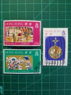 1977 伊莉莎白二世登基銀禧紀念 舊票一套