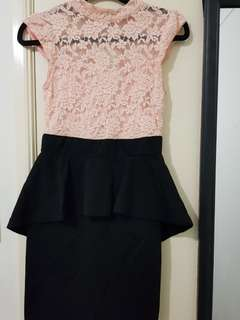 Lace Top Dress with Peplum Skirt