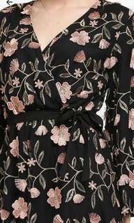 floral embroidered in black