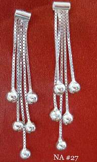 Genuine 925 Italy silver dangling earrings