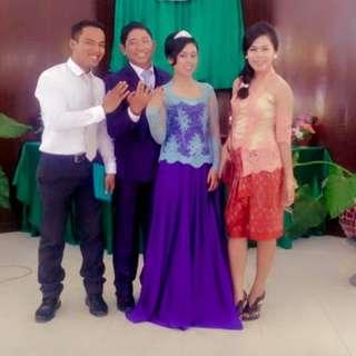 Gaun pengantin warna biru, kebaya pengantin