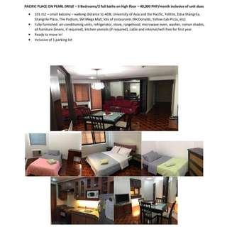 Three Bedroom Unit For Rent | Pacific Place Ortigas