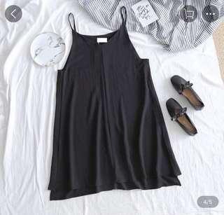 黑色 裙 背心 black dress